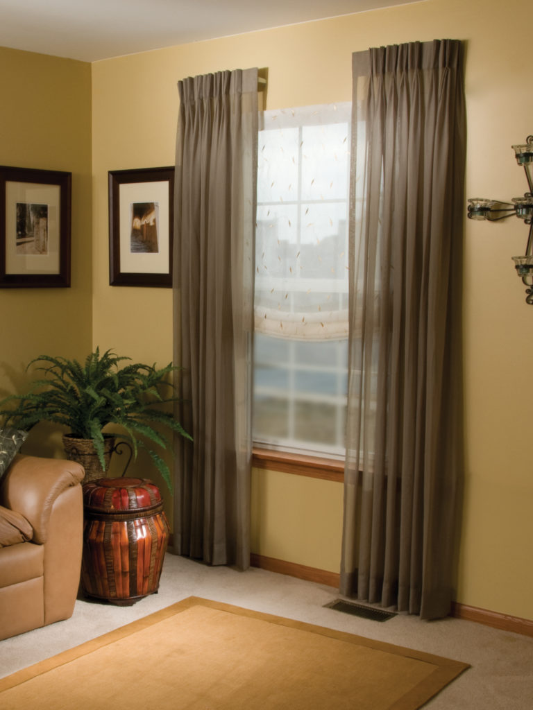 Stationary Side Panels And Drapery Gordon S Window Decor